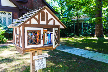 Jackson, MS, USA: Little Free Library near the Eudora Welty House, with door open, in Belhaven Neighborhood in Jackson, MS