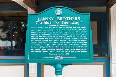 Memphis, TN / USA: Lansky Brothers, Clothier to the King historical sign in Memphis, TN