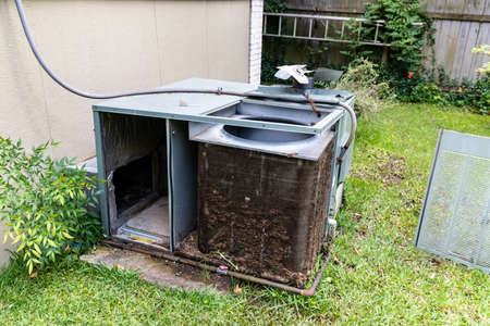 Air Conditioner system with dirty Condenser coils that need to be cleaned