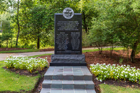 Jackson, MS, USA - July 2, 2020: Mississippi Department of Wildlife, Fisheries and Parks memorial outside of headquarters in Jackson, MS. MDWFP. 新聞圖片