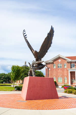 Hattiesburg, MS / USA - September 17, 2020: Golden Eagle Statue on the campus of University of Southern Mississippi