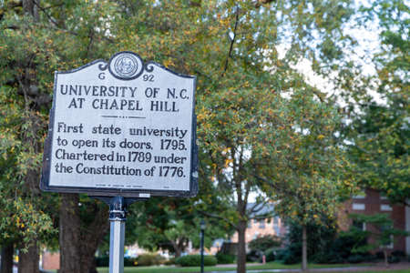Chapel Hill, NC / USA - October 22, 2020: University of North Carolina at Chapel Hill, UNC,  historical marker, marking its open in 1795