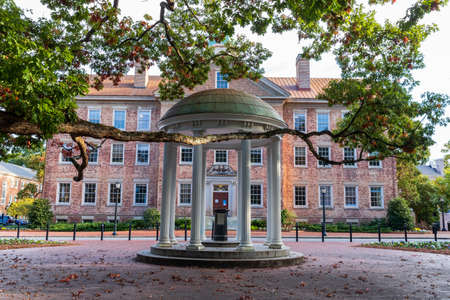 Chapel Hill, NC / USA - October 22, 2020: The Old Well in front of the South Building on the campus of the University of North Carolina