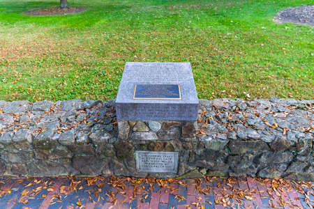 Chapel Hill, NC / USA - October 22, 2020: The Speaker Ban historical marker on the campus of the University of North Carolina