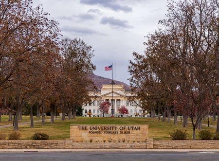 Salt Lake City, UT / USA - November 6, 2020: The University of Utah entrance sign