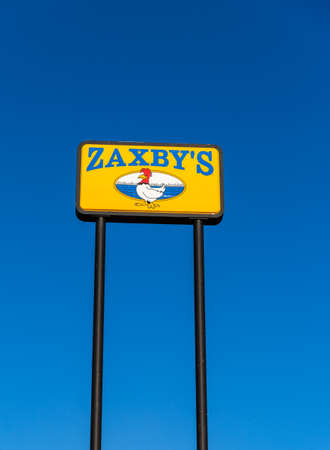 Atlanta, GA / USA - October 29, 2020: Zaxby's restaurant sign, a fast food chain that serves fried chicken and a variety of other food items.