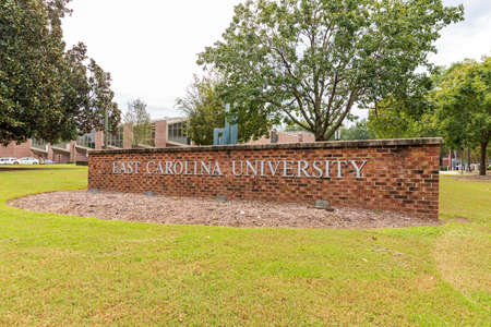 Greenville, NC / USA - September 24, 2020: East Carolina University sign