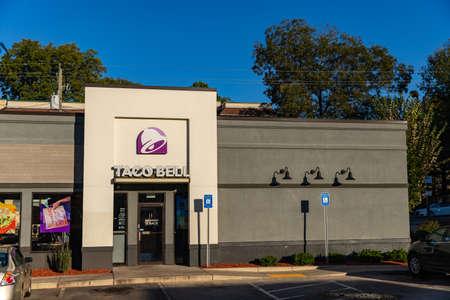 Atlanta, GA / USA - October 29, 2020: Taco Bell Restaurant, a fast food chain that serves tex-mex inspired food.