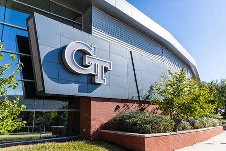 Atlanta, GA / USA - October 29 2020: Georgia Tech logo on the side of a building on campus.
