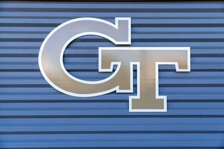 Atlanta, GA / USA - October 29 2020: Gold Georgia Tech logo on the side of a building on campus. 新聞圖片