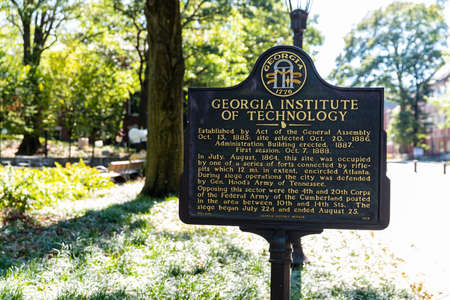 Atlanta, GA / USA - October 30 2020: Sign marking the establishment of the Georgia Institute of Technology in 1885