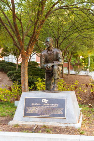Atlanta, GA / USA - October 31 2020: Robert L (Bobby) Dodd statue at Georgia Tech, Bobby Dodd is a member of the College Football Hall of Fame.