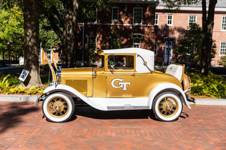 Atlanta, GA / USA - October 30 2020: The Ramblin' Reck from Georgia Tech is a 1930 Ford Model A Sport coupe and serves as the official mascot of the student body.