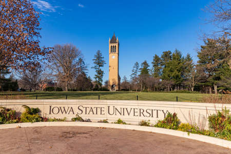 Ames, IA, USA - December 4, 2020: Iowa State University sign in front of the campanile