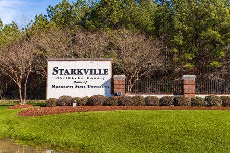 Starkville, MS / USA - December 18, 2020: Starkville, MS sign in Oktibbeha County, Home of Mississippi State University 新聞圖片