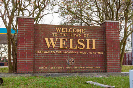 Welsh, LA, USA - January 1, 2021: Welcome to the Town of Welsh Louisiana sign off of I-10 in South Louisiana