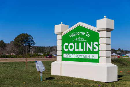 Collins, MS - January 28, 2021: Welcome to Collins Mississippi sign