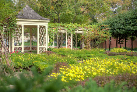 pathways: Wooden gazebo in a landscaped garden with yellow flowers and pathways
