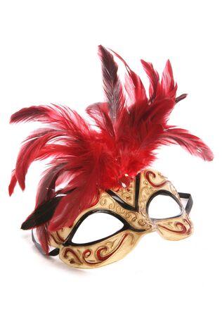 白い背景の上の仮面舞踏会マスク スタジオ カットアウト