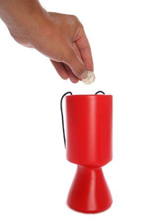 Man donating American money to charity studio cutout photo