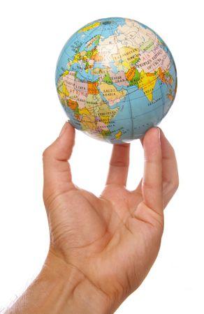 el mundo en tus manos: Mundo en el dedo consejos recorte de estudio  Foto de archivo