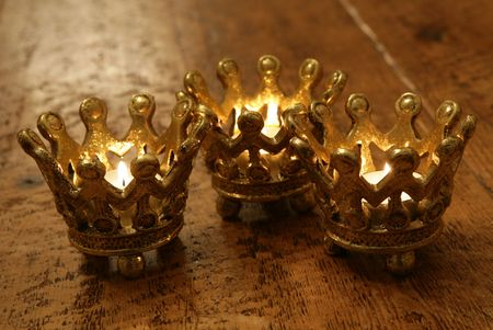 Three Crown candles still life portrait
