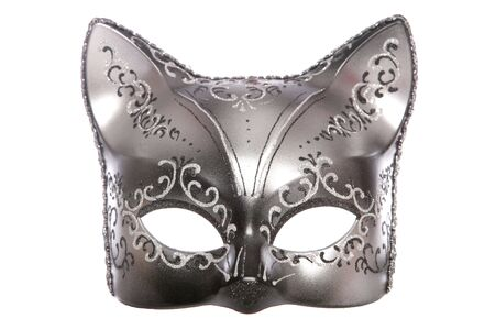 black mask: cat masquerade mask studio cutout on white background