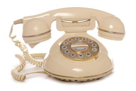 Cream retro telephone studio cutout Stock Photo - 8013058