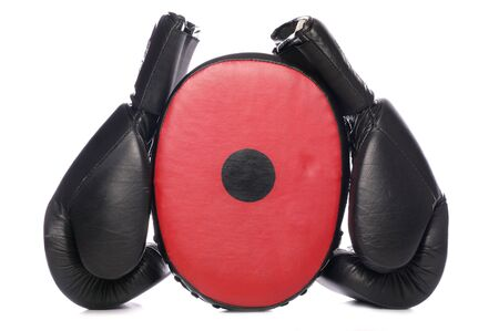 Boxing gloves and pad studio cutout Stock Photo - 8013144