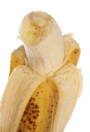 bannana: Half eaten bannana studio cutout Stock Photo