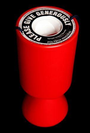 赤い慈善コレクション錫