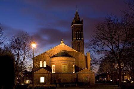 Church at night cityscape