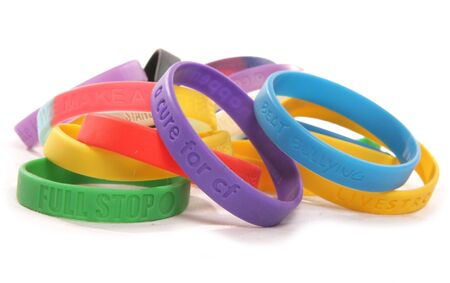 wristbands: Various charity wristbands cutout taken in a studio