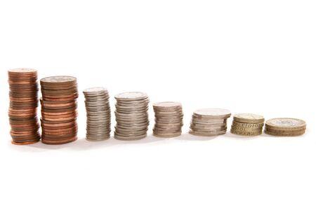 piles of english money Stock Photo