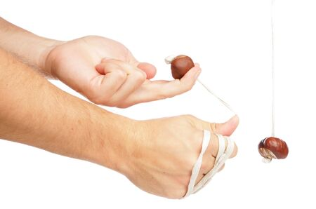 Playing conkers isolated in studio Stock Photo