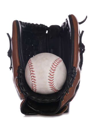 Softball glove and ball studio cutout photo