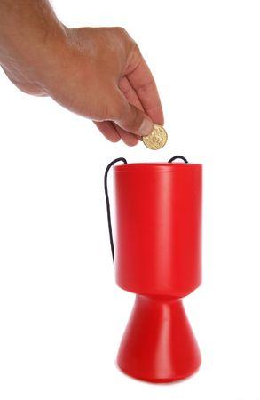 Man donating australian money to charity studio cutout photo