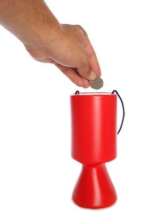 Man donating fifty pence to charity studio cutout photo