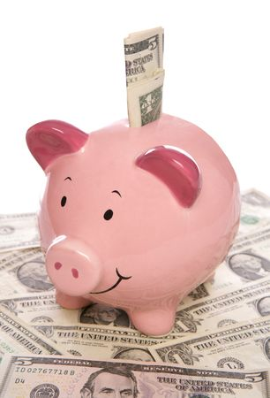 five dollars: Piggybank with Us dollar money studio
