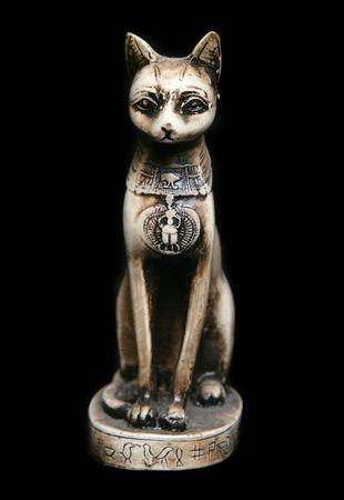 cat goddess: Bastet Egyptian cat goddess statue in studio Stock Photo