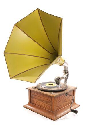 gramaphone: yellow gramaphone Stock Photo