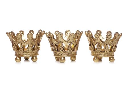 corona navidad: Tres rey recorte de estudio de decoraci�n de Navidad de coronas  Foto de archivo
