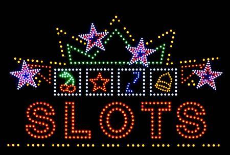 slots: ranuras de juegos de azar signo de ne�n aislado sobre fondo negro