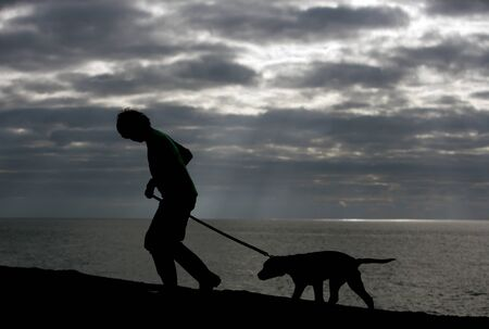 Boy and dog walking on beach silhouette photo
