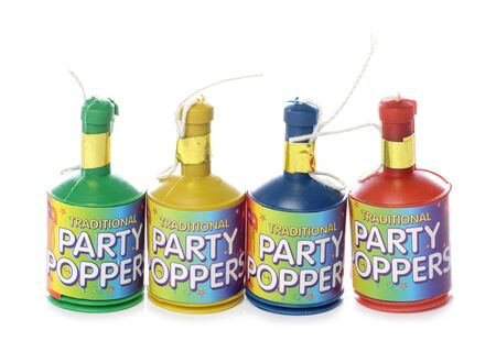 poppers: Party poppers isolated on white background