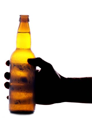 Hand holding beer bottle studio cutout Stock Photo - 8809933