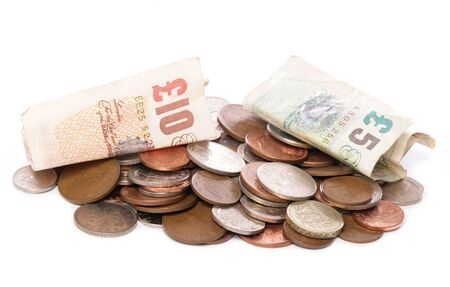 pile of sterling money studio cutout Stock Photo