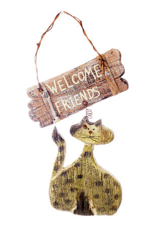 welcome sign: Rustic Cat welcome sign studio cutout