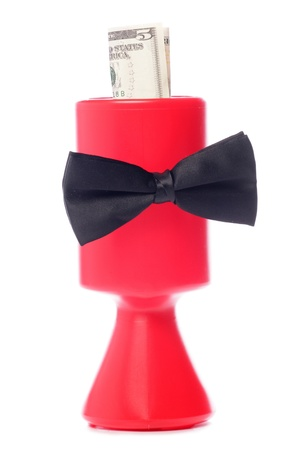 five dollars: Black bow tie charity donation with five dollars studio cutout