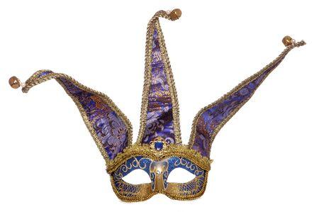 Blue jester masquerade mask studio cutout Stock Photo - 9131903